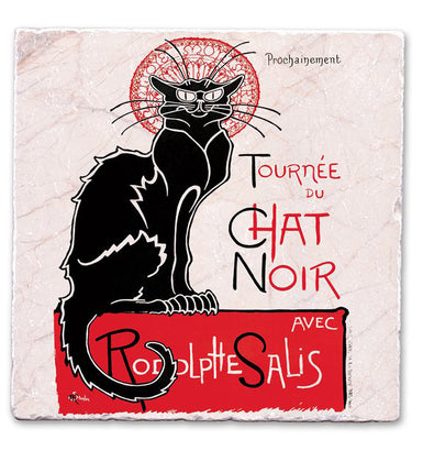 Marble Art Tile - Chat Noir