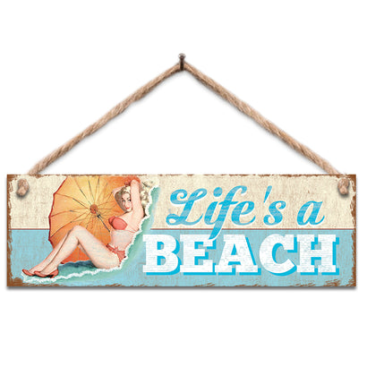 Wooden Sign - Life's A Beach