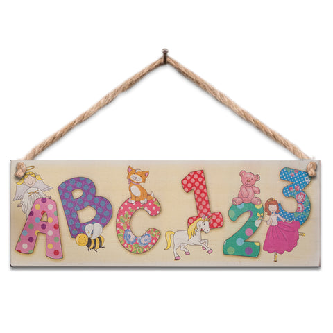Wooden Sign - Girl's ABC 123