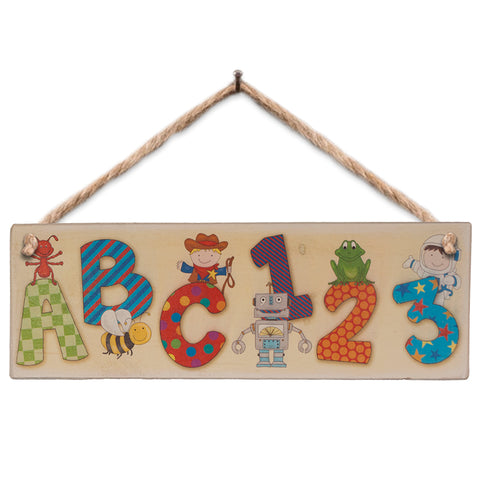 Wooden Sign - Boy's ABC 123