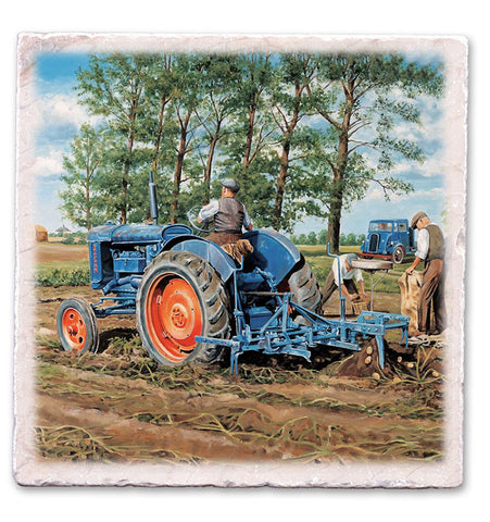 Marble Art Tile - Blue Tractor