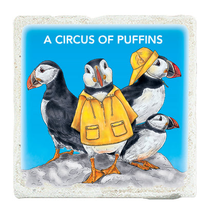 Marble Art Tile - A Circus Of Puffins Marble Tile