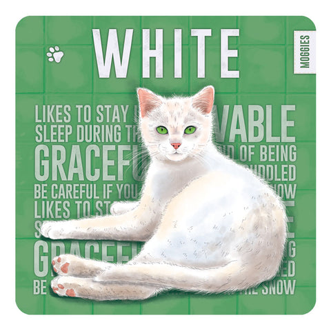 Melamine Coaster - White Moggies