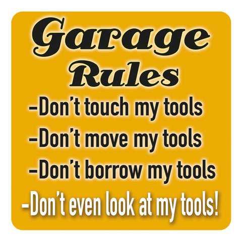 Melamine Coaster - Garage Rules Coaster