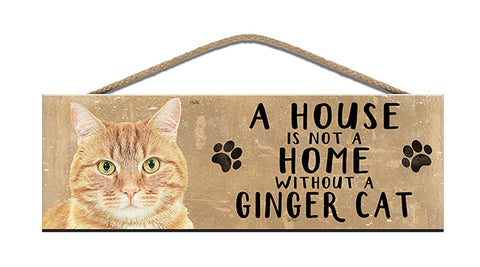 Wooden Sign - House is not a home without a Ginger Cat