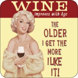 Melamine Coaster - Wine Improves With Age