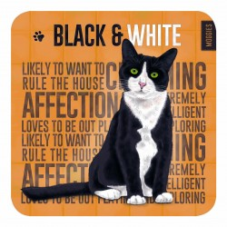 Melamine Coaster - Black & White Moggie