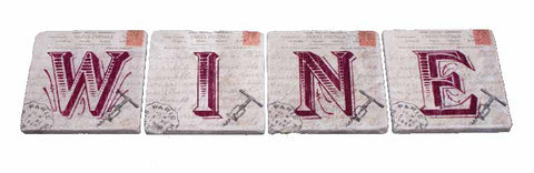 Marble Coaster - Letters Wine