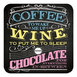 Melamine Coaster - Coffee Wine To Put Me To Sleep