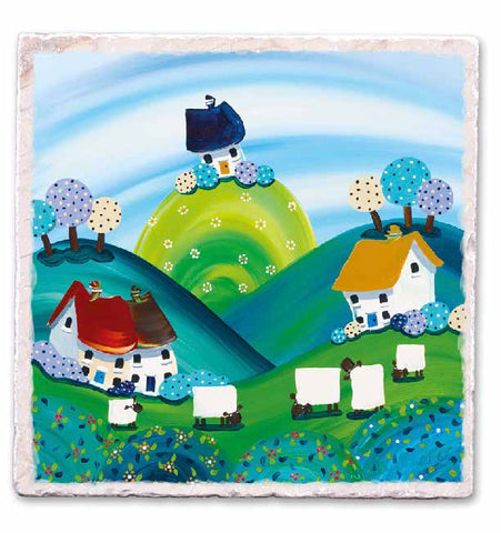 Marble Art Tile - Sheep Grazing - Nikky Corker