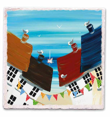 Marble Art Tile - Houses By The Beach - Nikky Corker