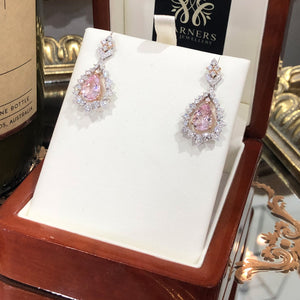 Morganite & Diamond Earrings in 18ct White and Rose Gold