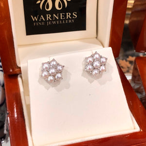 Pearl Daisy Studs in 9ct white gold