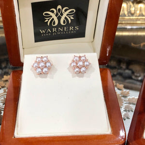 Pearl Daisy Studs in 9ct rose gold