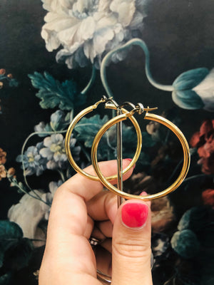 40mm Italian Gold Hoops in 9ct yellow gold