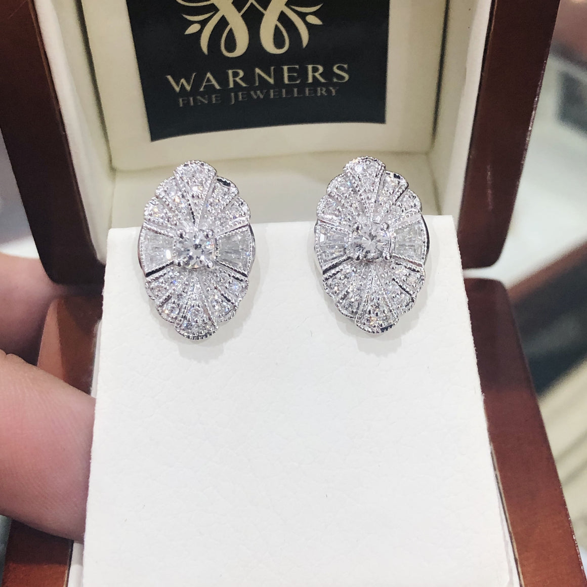 Art Deco Diamond Earrings in 18ct White Gold
