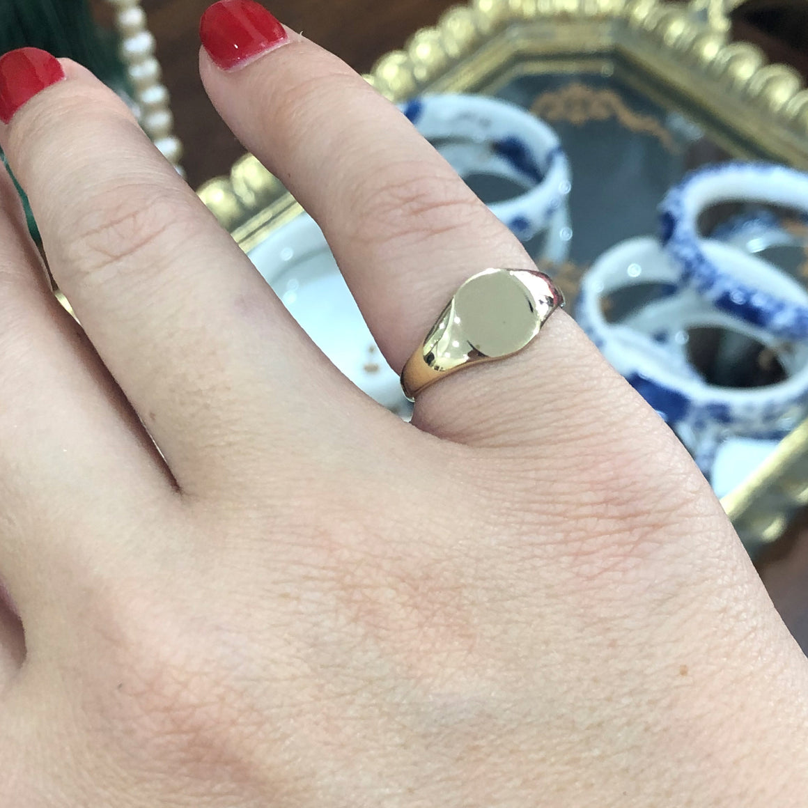Petite Signet Ring in 9ct Yellow Gold