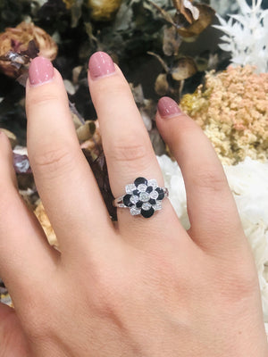 Art Deco Diamond and Black Enamel Ring in 9ct White Gold