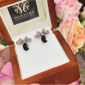 Onyx and Marcasite Bow Studs