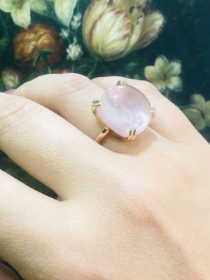 Rose Quartz Cocktail Ring in 9ct Yellow Gold