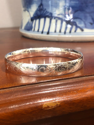 Solid Engraved Sterling Silver Bangle