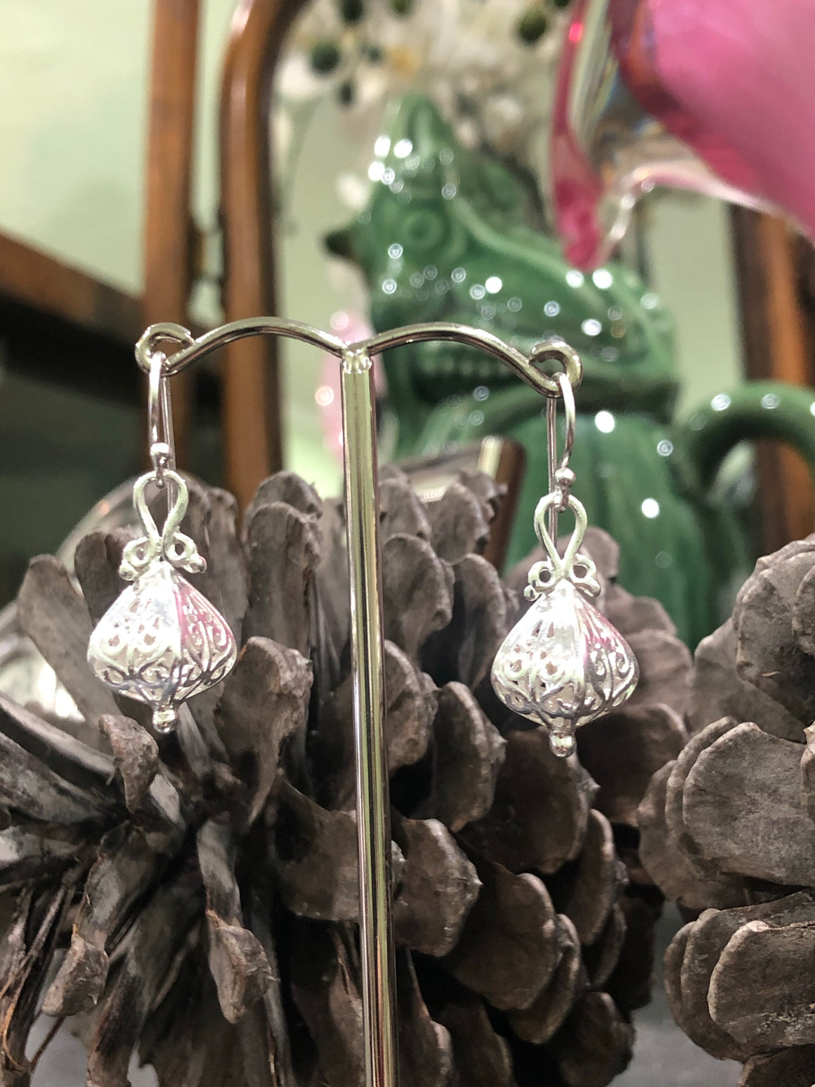 Lantern Earrings in Sterling Silver