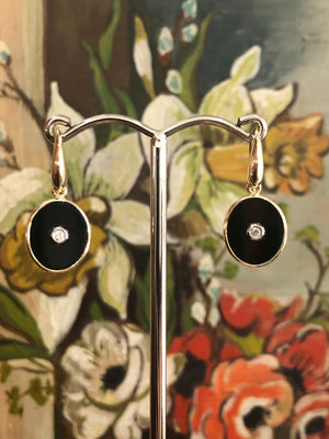 Onyx and Diamond Earrings in 9ct yellow gold