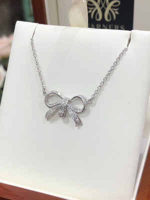 Diamond Bow Necklace in 9ct White Gold