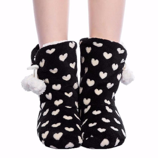 Soft Black & White Heart Boot Slippers