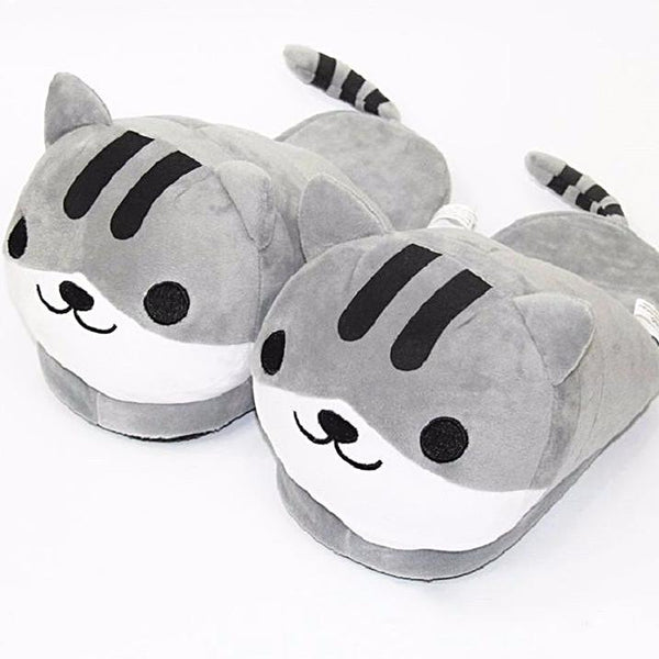 Soft Grey Tiger Slippers