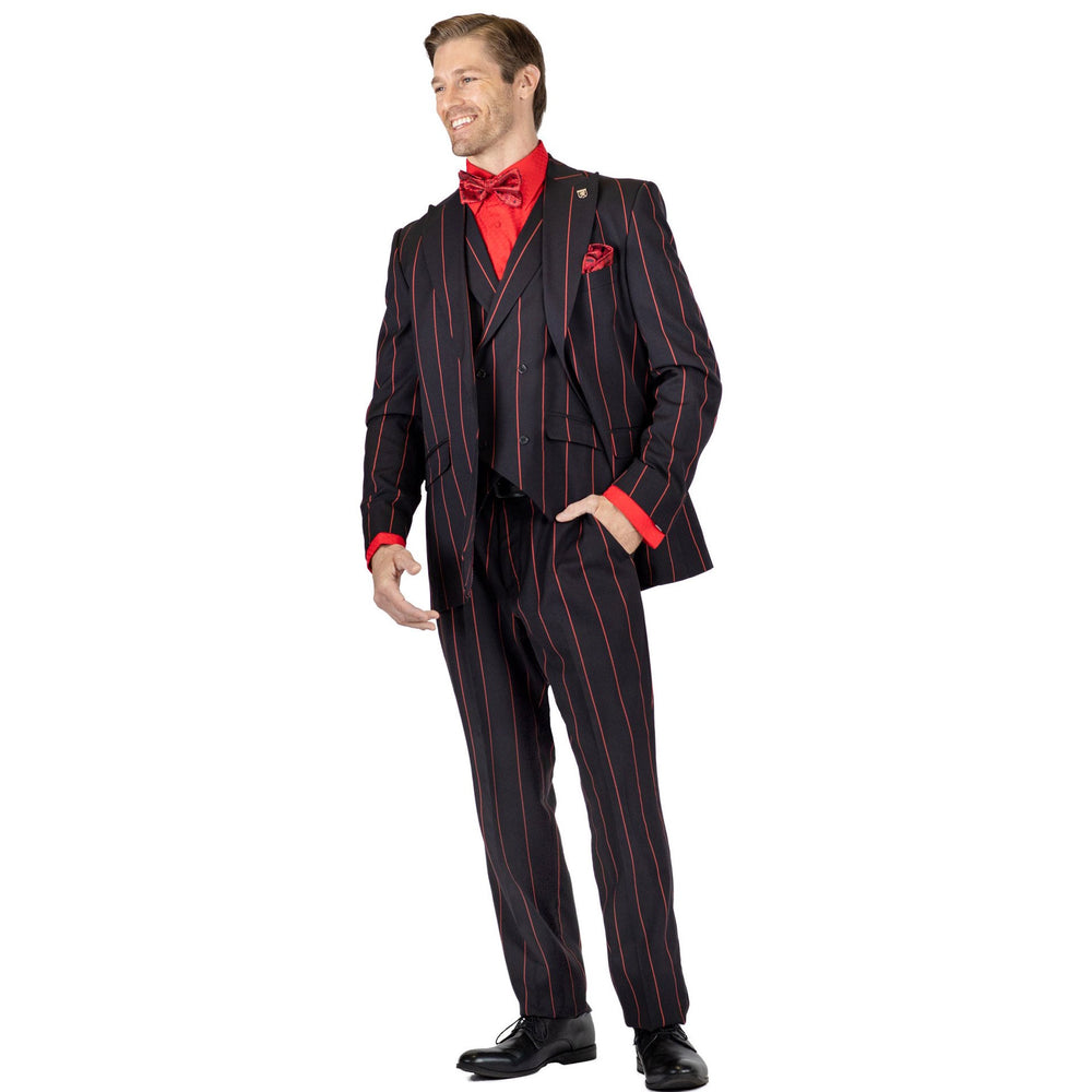 Ken Black with Red Pinstripe Classic Fit Suit