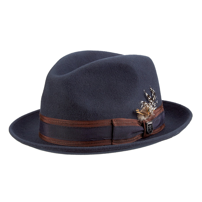 Stacy Adams Navy Wool Felt Pinch Front Fedora Hat