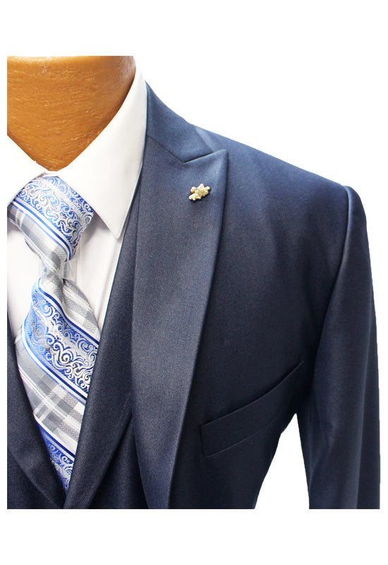 Falcone Pett Navy Blue Vested Classic Fit Suit
