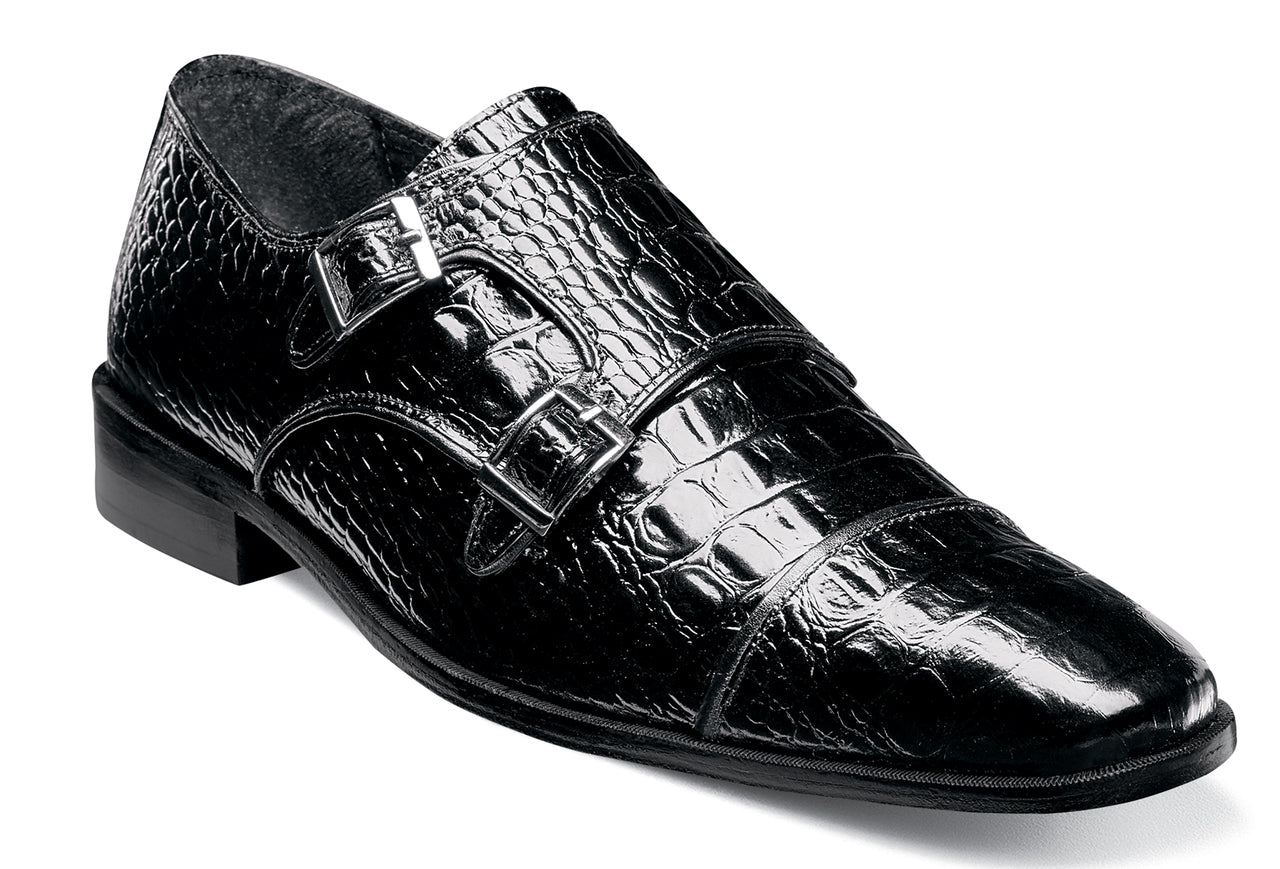 Stacy Adams Golato Black Cap Toe Monk Strap