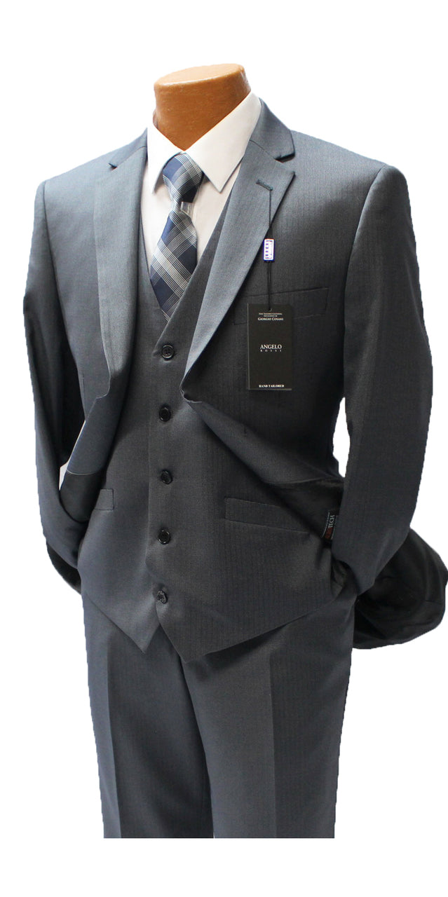 Angelo Rossi Charcoal Pinstripe Vested Modern Fit Suit
