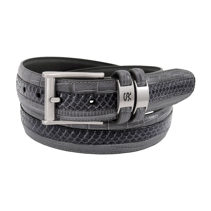 Stacy Adams Maes Gray Genuine Snakeskin Emboss Belt