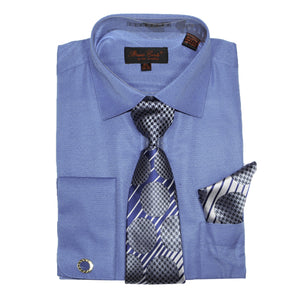 Bruno Conte 1073 Blue Regular Fit Dress Shirt Combo
