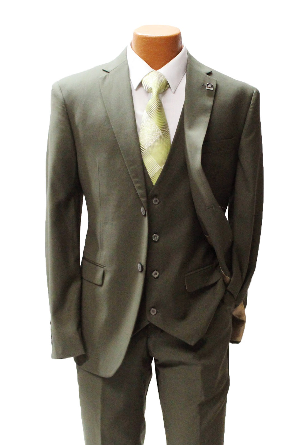 Bud Olive Green Vested Classic Fit Suit