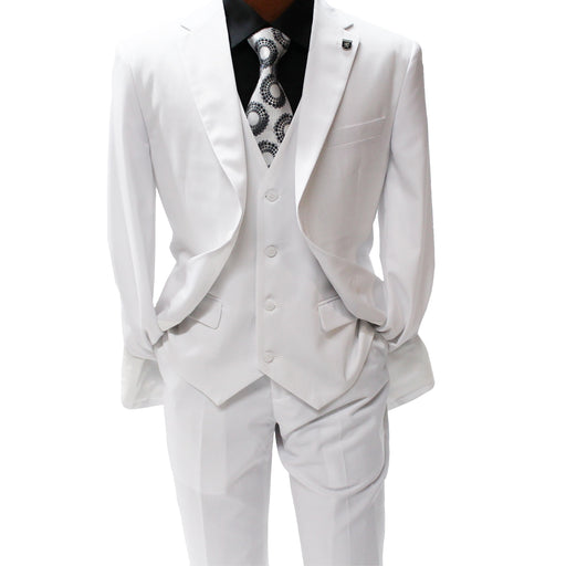 Stacy Adams Bud White Vested Modern Fit Suit