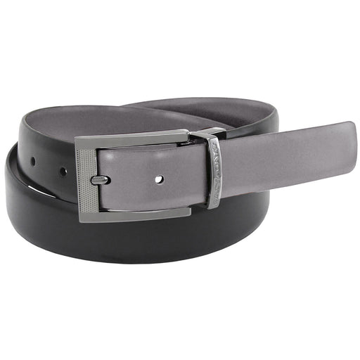 Stacy Adams Jasen Black and Grey Engraved Buckle Reversible Belt