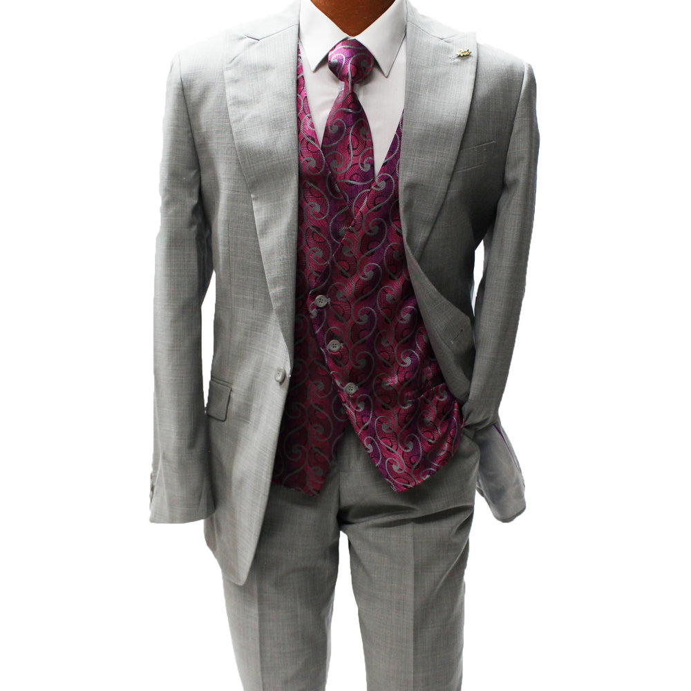 Falcone Kraft Grey Vested Classic Fit Suit