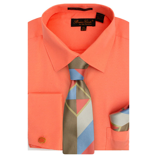 Bruno Conte 1085 Coral Regular Fit Dress Shirt Combo
