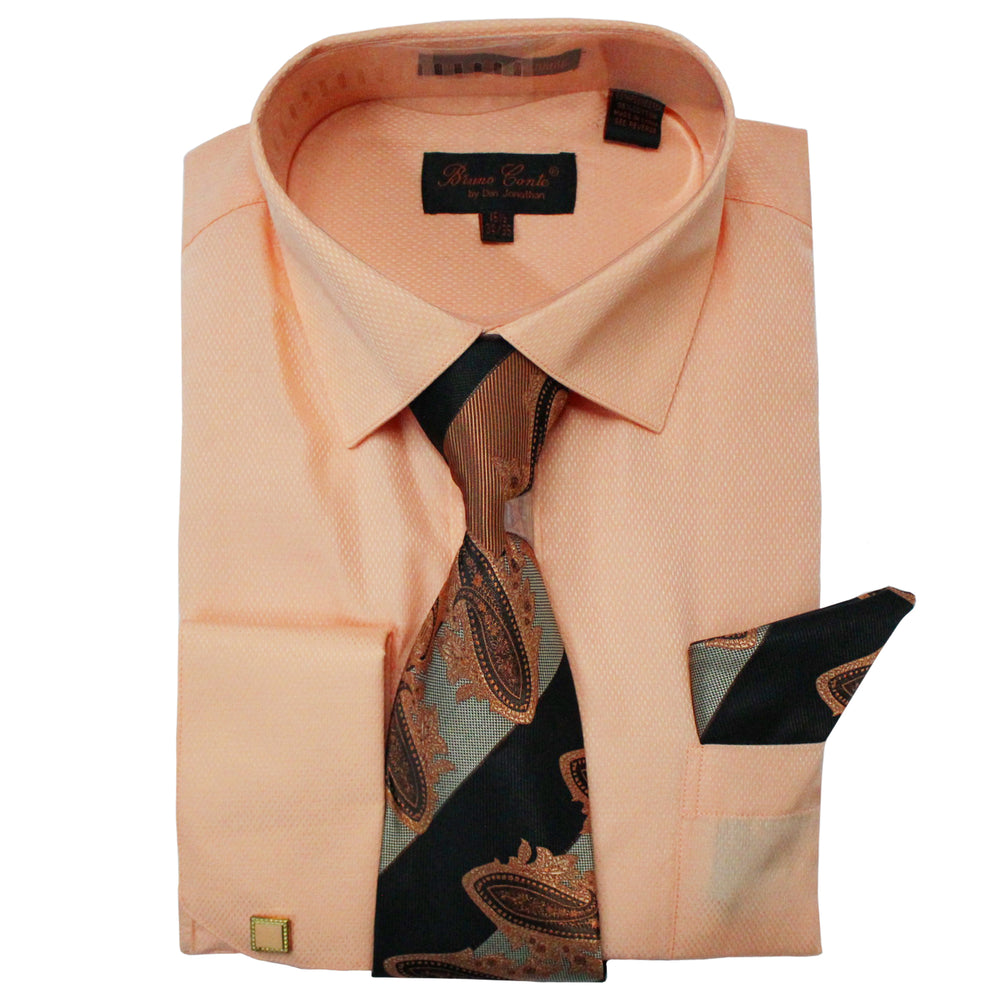 Bruno Conte 1080 Peach Regular Fit Dress Shirt Combo