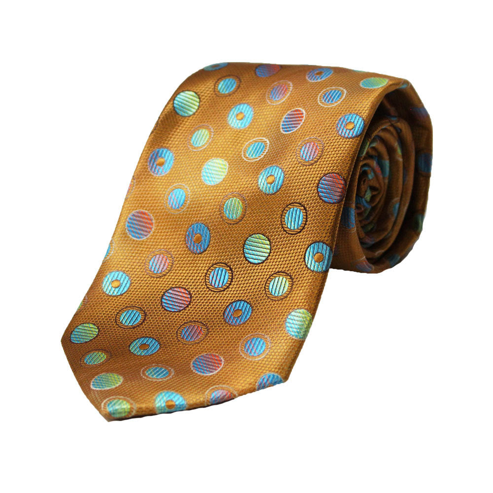Stacy Adams Rust Polka Dot Tie and Handkerchief