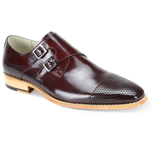Giovanni Gyles Burgundy Monk Strap Dress Shoes