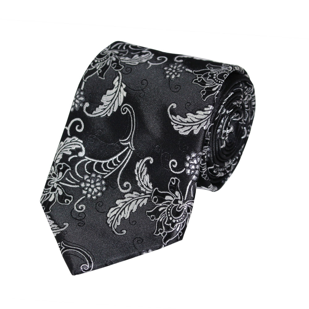 Black Floral Tie and Handkerchief