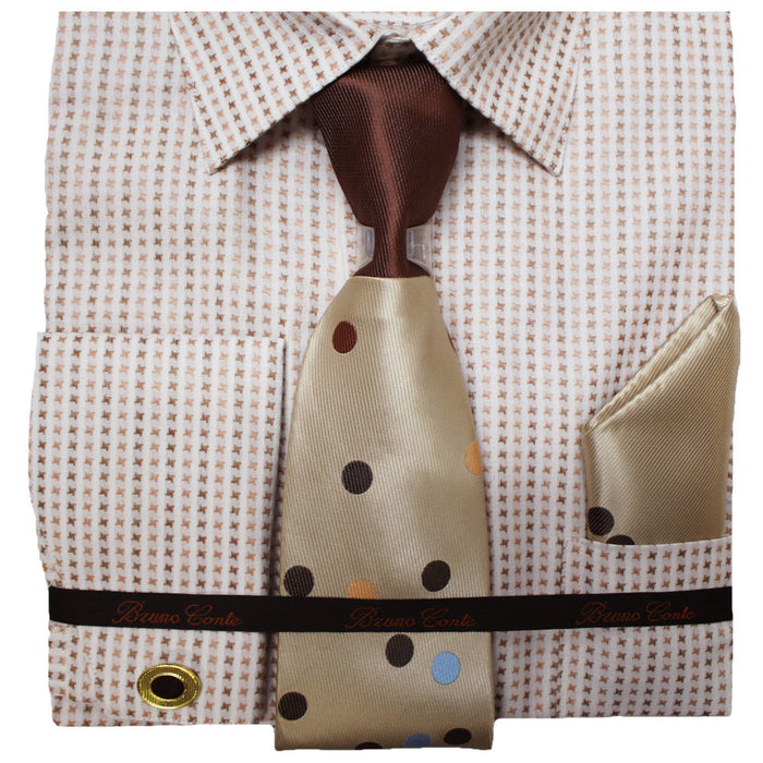 Bruno Conte Ivory and Brown Geometric Regular Fit Dress Shirt Combo