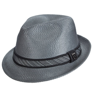 Stacy Adams Deanwood Grey Poly Braid Fedora Hat