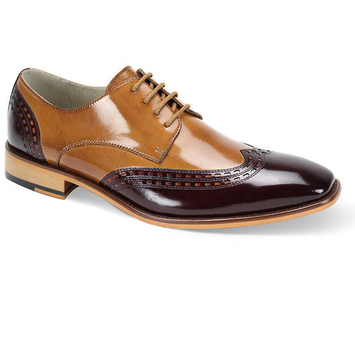Giovanni Gala Burgundy/Tan Wingtip Oxford Shoes