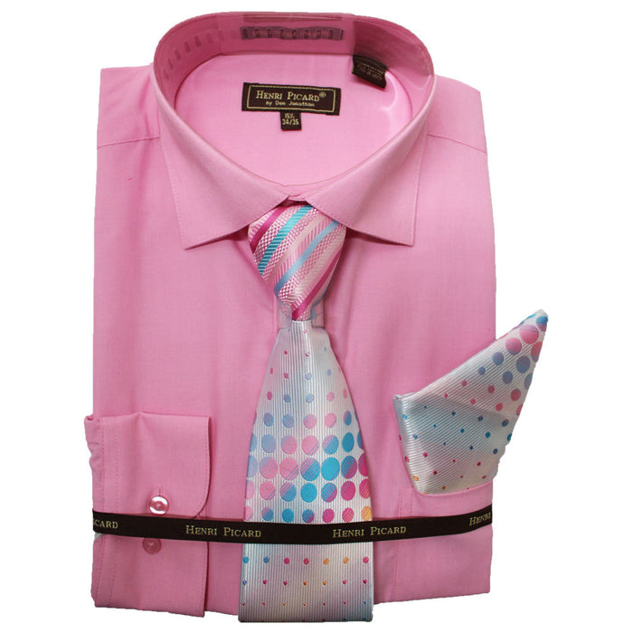 Henri Picard Pink Regular Fit Dress Shirt Combo